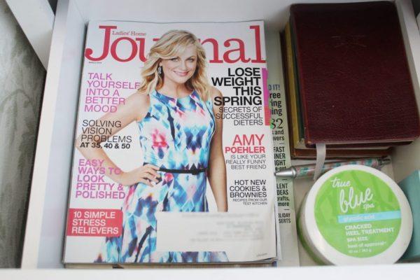 magazines stored in nightstand