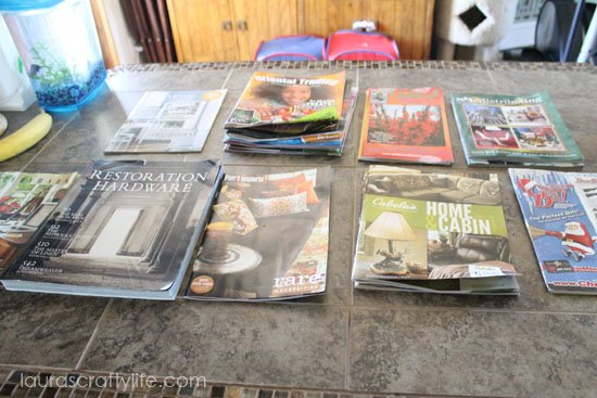 sort magazine or catalog into piles by title