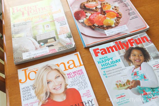 sort magazines into piles by title