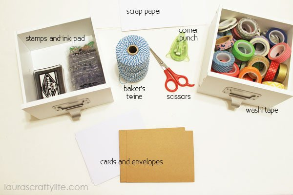 supplies needed for washi tape cards