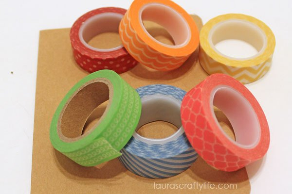 washi tape choices for rainbow striped card