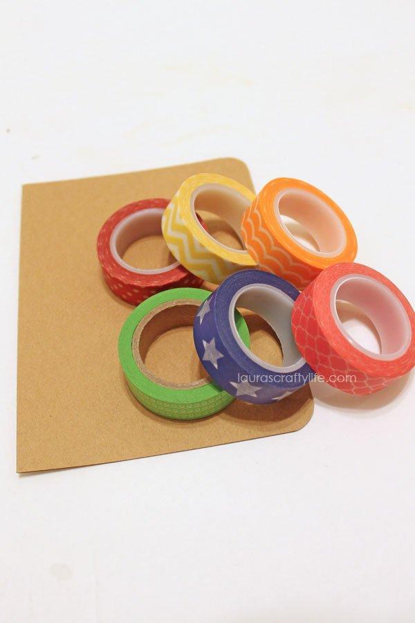 washi tape for rainbow card