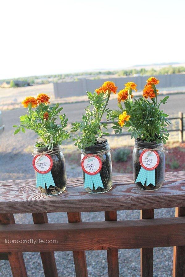 Mason Jar Flower Planters Gift