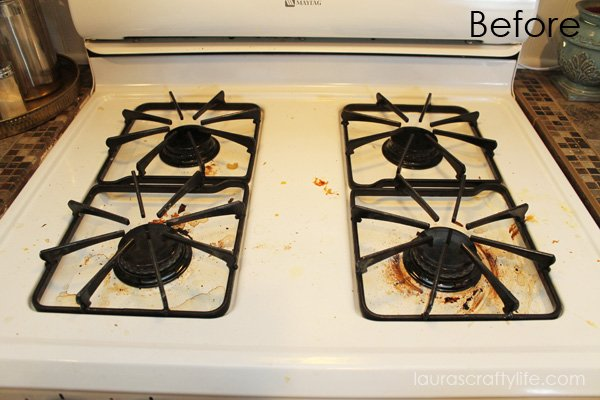 how to clean baked on grease from porcelain stove