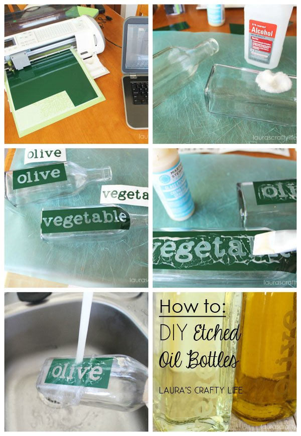 DIY Etched Oil Bottles via {Laura's Crafty Life}