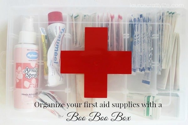 Organize first aid supplies with a boo boo box