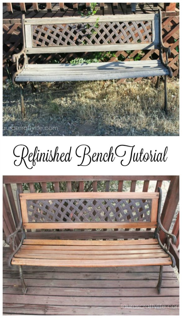 Refinished Wooden Bench {Laura's Crafty Life}