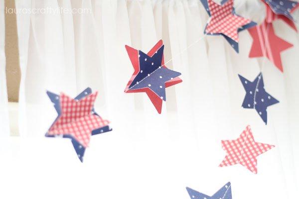 details of patriotic paper garland