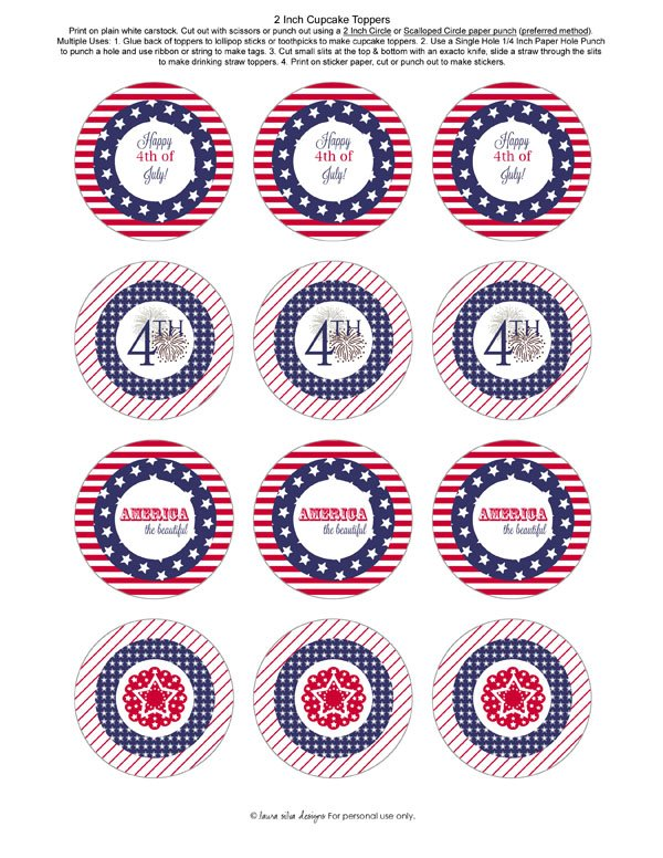 4th of July 2 Inch Cupcake Toppers