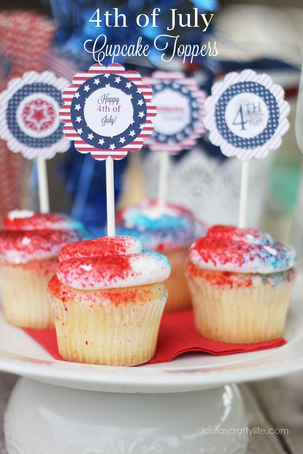 Fourth of July cupcake toppers via Laura's Crafty Life