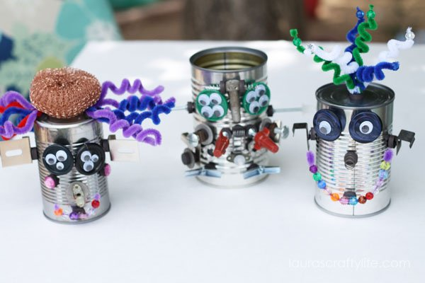 Tin Can Robot Ideas via Laura's Crafty Life