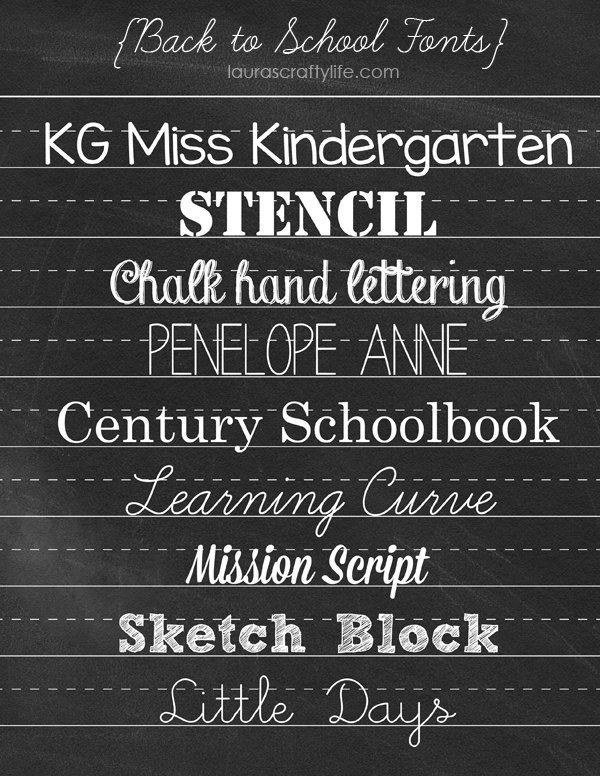 Back to School Fonts - Laura's Crafty Life