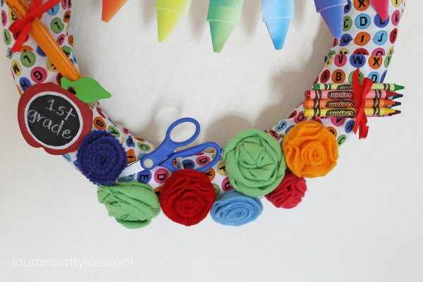Back to School Wreath with felt and fabric flowers