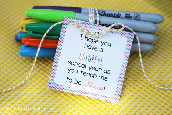 Colorful school year gift tag for marker teacher gift