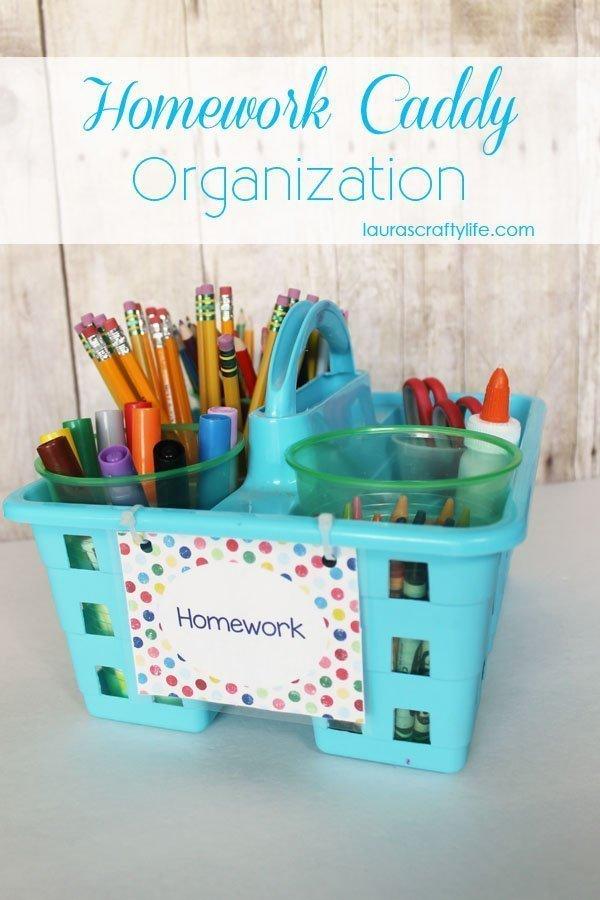Homework Caddy Organization via Laura's Crafty Life
