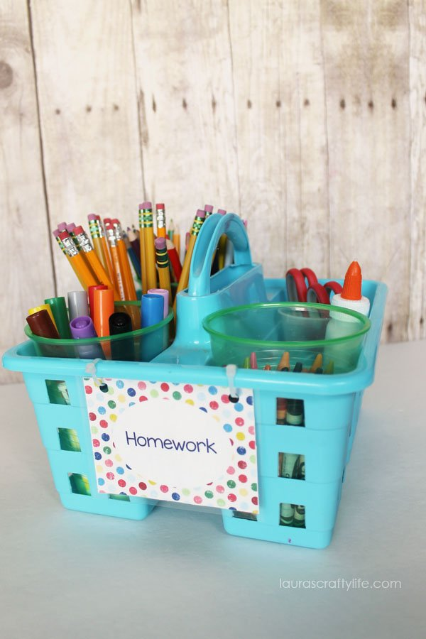Homework Caddy Organization