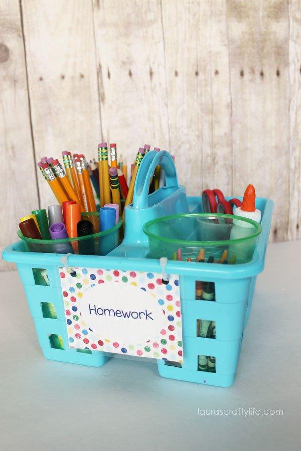 Homework Caddy Organization