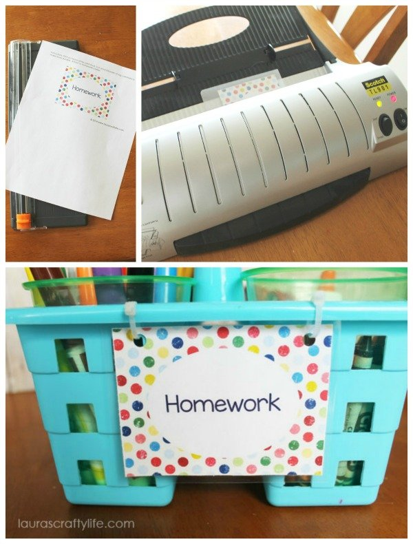 Laminated label for homework caddy