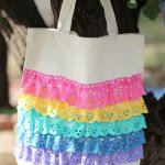 No-sew ruffled lace canvas tote