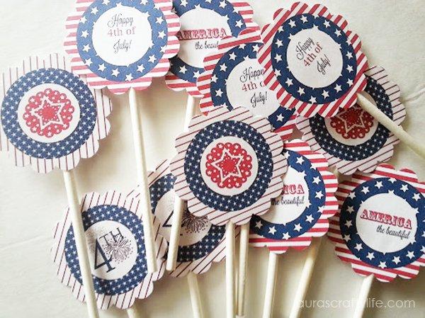 Patriotic cupcake toppers
