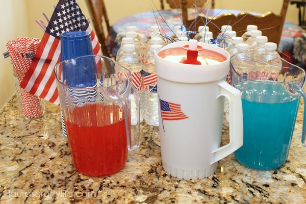 Red white and blue drinks at patriotic party