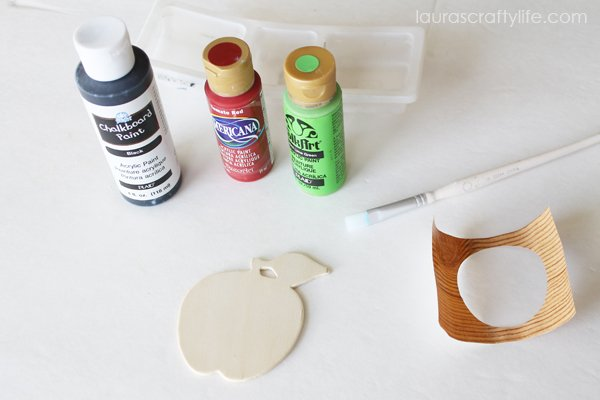 Supplies to make chalkboard apple