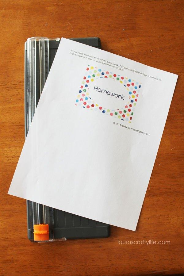 cut homework caddy printable