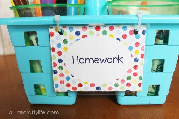 laminated homework caddy label