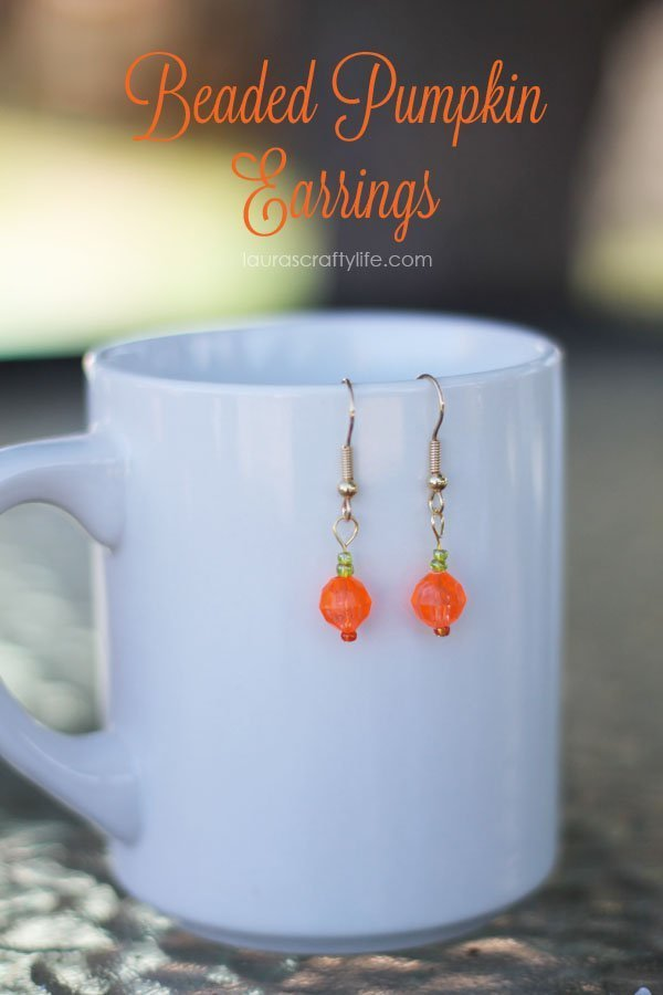 Beaded Pumpkin Earrings by Laura's Crafty Life