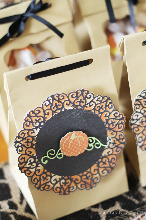 Halloween Soiree Pumpkin Treat Bag Favors