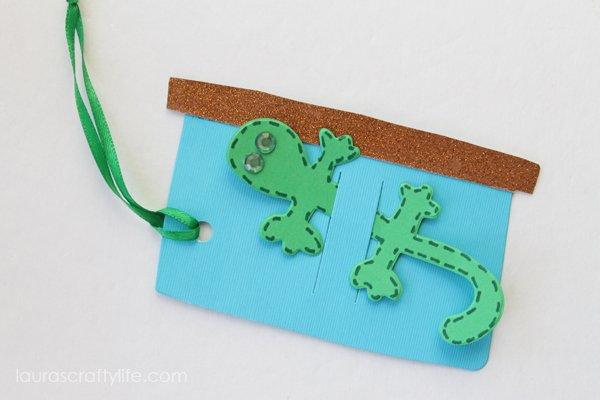 Lizard gift tag using Laura Kelly Pet Shop dies