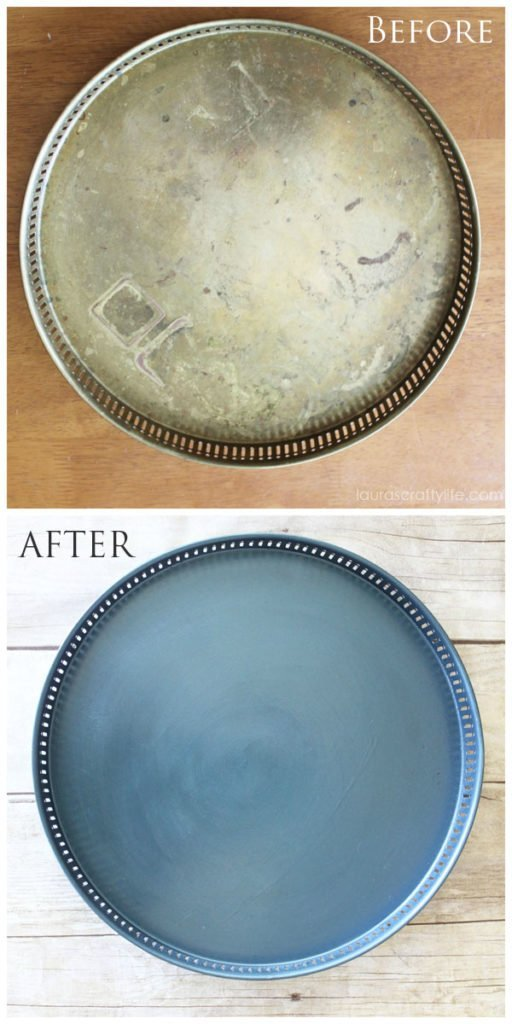 Painted Tray before and after Modern Masters Metallic Paint