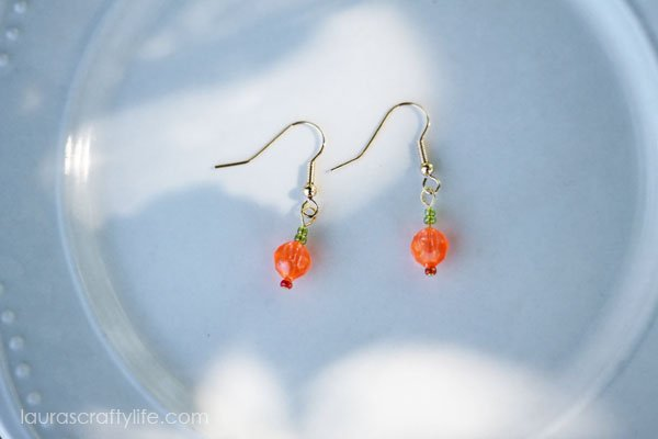 Pumpkin Bead Earrings by Laura's Crafty Life