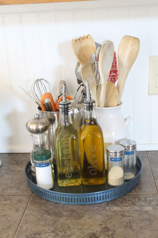 Use a tray to corral kitchen counter top items