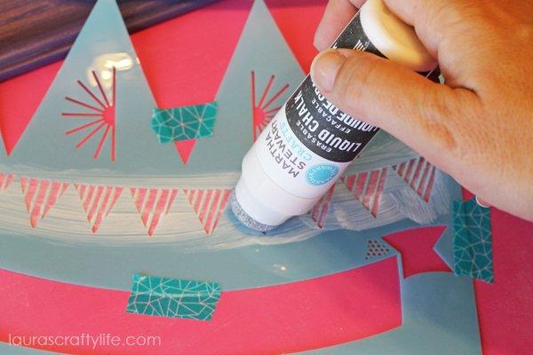 Use erasable liquid chalk and stencil to create semi-permanent designs