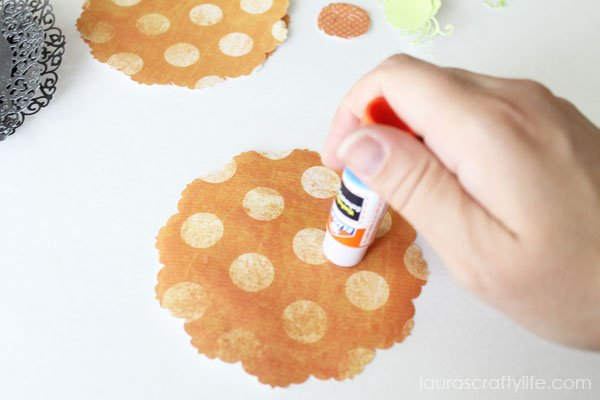 Use glue stick to adhere cut outs