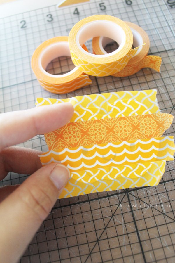 Cover pumpkin shape with washi tape