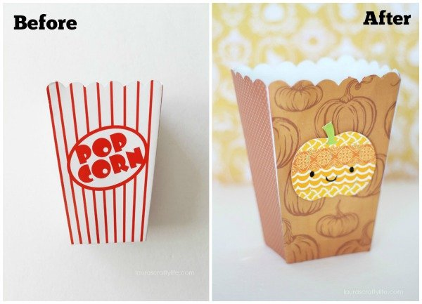 Halloween Popcorn Box before and after