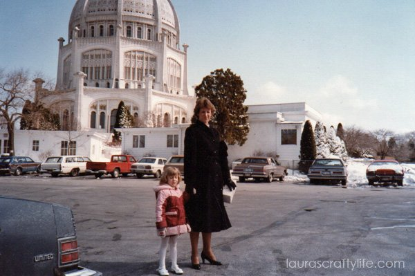 Mom and I at the Baha'i House of Worship in Illinois