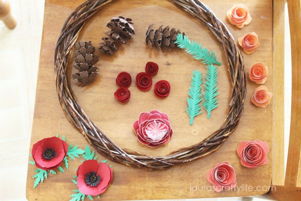 Paper components for woodland fall paper wreath