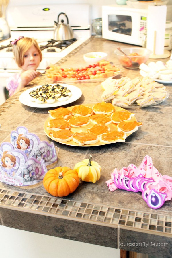 Party food for Sofia the First Halloween play date