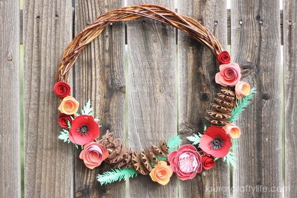 Rustic Fall Paper Wreath Via Laura's Crafty Life