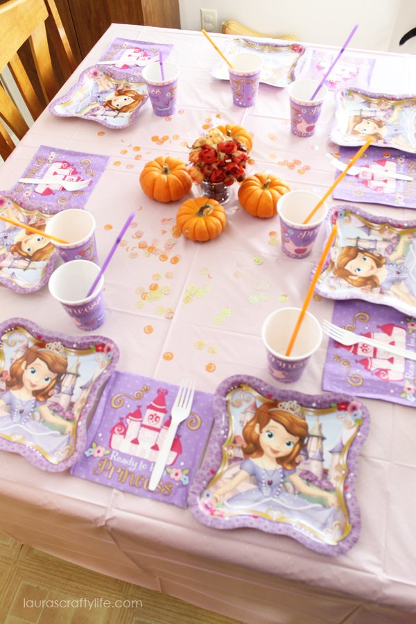 Sofia the First table setting and party supplies