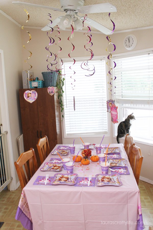 Table setting for Sofia the First Halloween play date