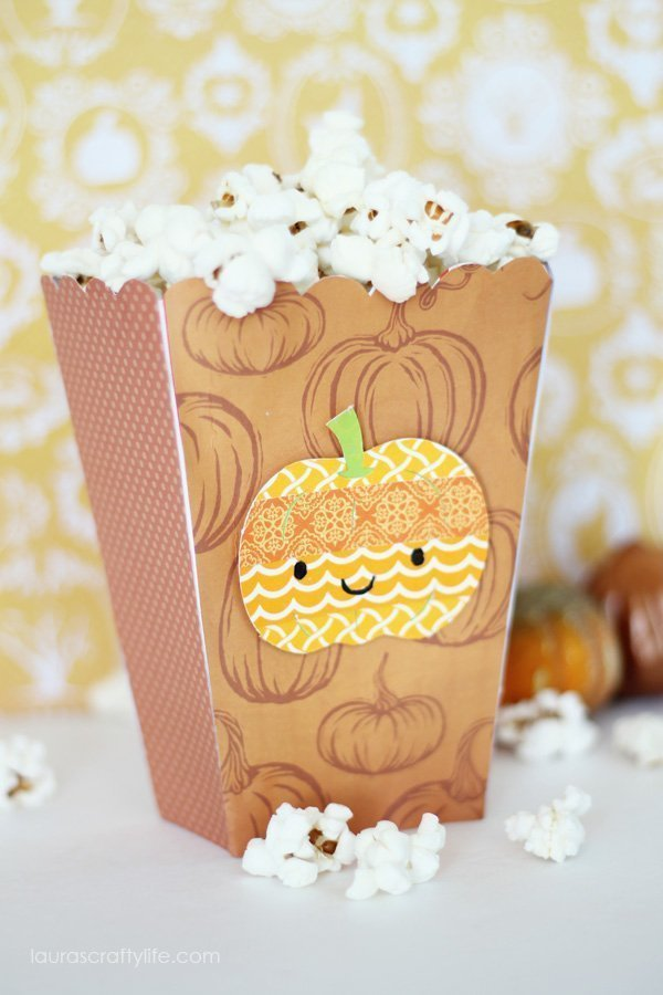 Washi Tape Pumpkin Halloween Popcorn Box