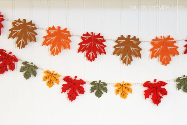 Fall Felt Leaf Garland by Laura's Crafty Life