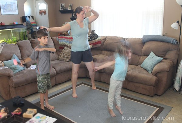 Playing Just Dance 2015 with the kids