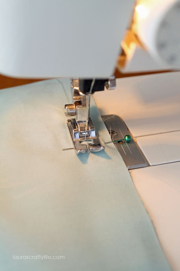 Stitch a one half inch seam allowance