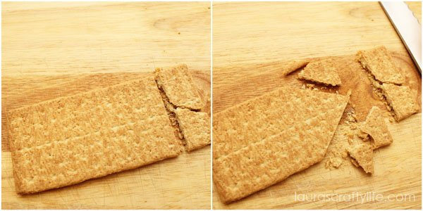 Cut graham cracker to make sides