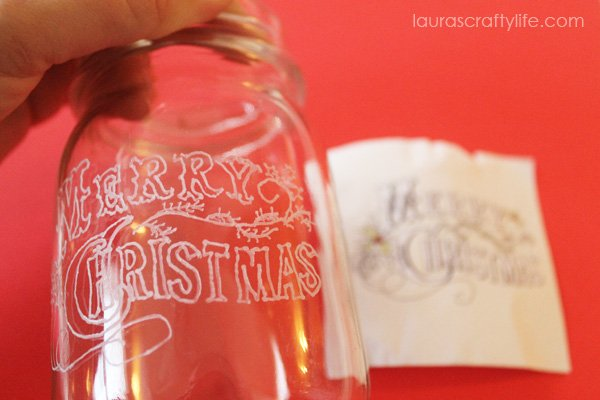 Merry Christmas Etched Mason Jar